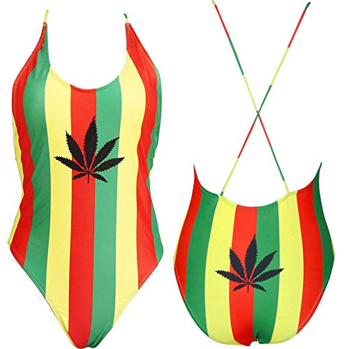 (VOARYISA Women's Fashion One Piece Caribbean Jamaica Flag Rasta Sport Monokini Swimsuit Swimwear (Small/4-6,)