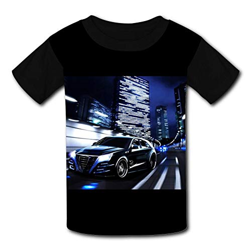 JIANUO Cool Sports Car: Boys' Short Sleeve T-Shirt XL Black