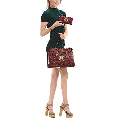 Large Pieces Handbag Bag navy Satchel with Multicolor 2 Wallet Designer Crocodile Leather Purse Shoulder Blue USqYUx4r