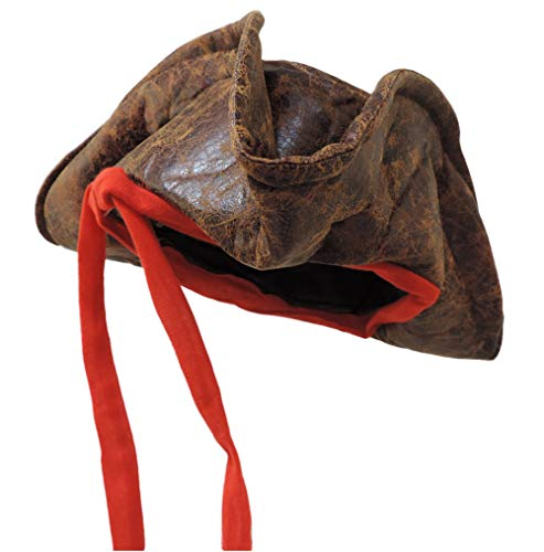 Jack Sparrow Hat (Jacobson Hat Company Child Sized Carribean Pirate Costume Tri-Corner Distressed Brown)