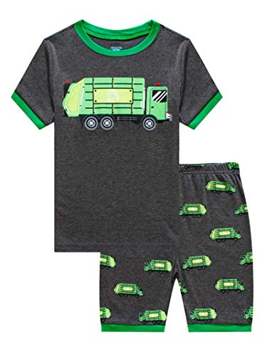 KikizYe Little Boys Garbage Truck Summer Pajamas Short Sets 100% Cotton Pants Sets Toddler Kid 4T