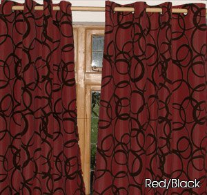 Red Burgundy With Black Velvet Circles EYELET FAUX SILK CURTAINS