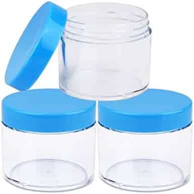 Beauticom 60 Grams/60 ML (2 Oz) Round Clear Leak Proof Plastic Container Jars with Blue Lids for Travel Storage Makeup Cosmetic Lotion Scrubs Creams Oils Salves Ointments (3 Jars)