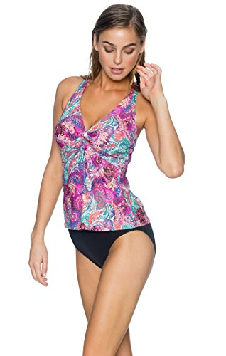 Sunsets Women's Forever Bra Sized Tankini Top Swimsuit with Hidden Underwire, Paisley Peacock, ()
