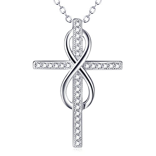 - 925 Sterling Silver Open Loop Infinity Holy Cross Pendant Necklace with Rolo Chain 18 inches