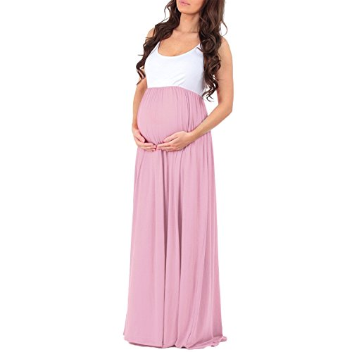 OBEEII Womens Maternity Sleeveless Ruched Tank Dress Color Block Pregnancy Casual Baby Shower Photography Prop Maxi Gown at Amazon Womens Clothing store: