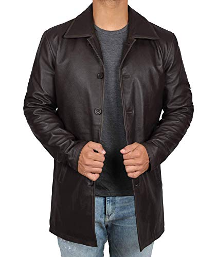 Decrum Distressed Brown Leather Jacket Mens - Lambskin Leather Jackets | [1500034] Super Rub, L ()
