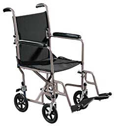 Drive Medical Lightweight Steel Transport Wheelchair, Fixed Full Arms, 19\