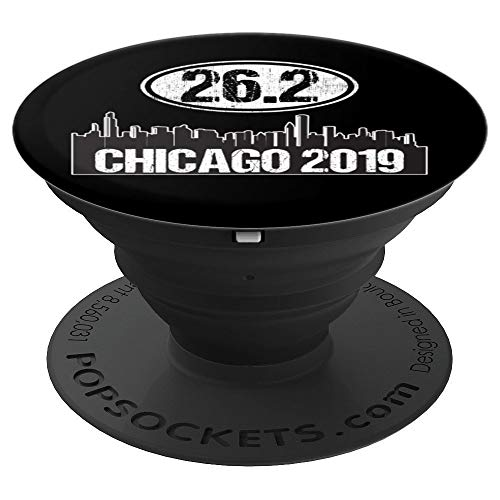 26.2 Marathon Runner Gift 2019 Black Chicago Skyline - PopSockets Grip and Stand for Phones and Tablets