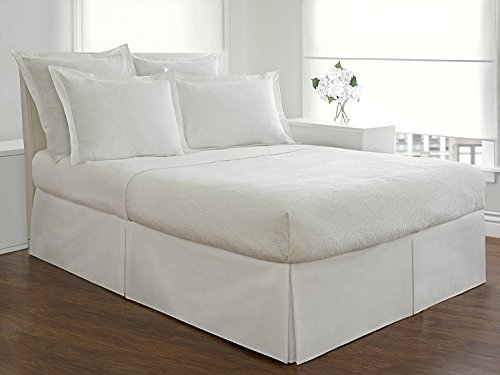 Solid Pattern Italian Luxury Hotel Collection Bed Skirt with 8-inch Drop Length - 100% Egyptian Cotton 400 Thread Count Quality Pleated Dust Ruffle Bed Skirt ( Queen, White ) (Italian Bed)