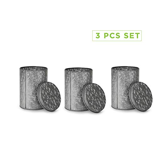 Mind Reader 3CANG-SIL Galvanized 3 Pc Set Canisters, Food Storage Containers, Kitchen, Coffee, Tea. Cookies, Candy, Sugar, One Size, Silver 3 Pack w Lids