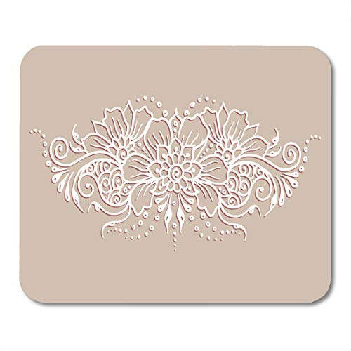 Emvency Mouse Pads Ethnic Mehndi Pattern for Detailed Outline Ornamental Flowers Mouse Pad for notebooks, Desktop Computers mats 9.5