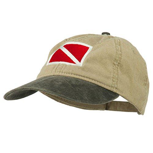 Diver Hat (E4hats Scuba Dive Flag Embroidered Washed Pigment Dyed Cap - Black Khaki OSFM)