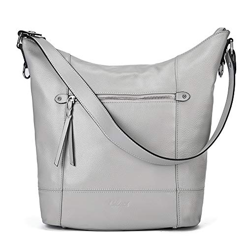 (Handbags for Women Soft Genuine Leather Designer Bucket Tote Purses Ladies Shoulder Bag Gray)