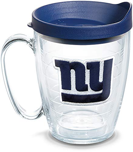 Tervis 1062487 NFL New York Giants Primary Logo Tumbler with Emblem and Navy Lid 16oz Mug, Clear (New Mug Giants York)