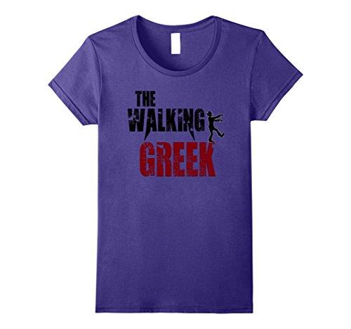 Greece Costumes Ideas (Womens Walking Greek gift t shirts, Greece Athens scary zombie tee XL Purple)