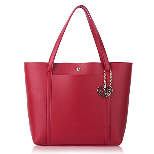 The Lovely Tote Co. Women's Love Pocket Tote Shoulder Bag Large Capacity,  Red