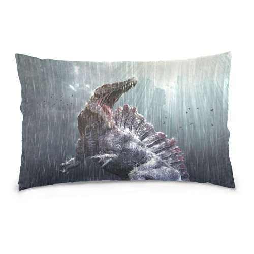 Florence Cool Spinosaurus Dinosaur With Tropical Storm Zippered Pillowcase Cover Home Decor Throw Pillow Cover Cases 20 x 26 Inches
