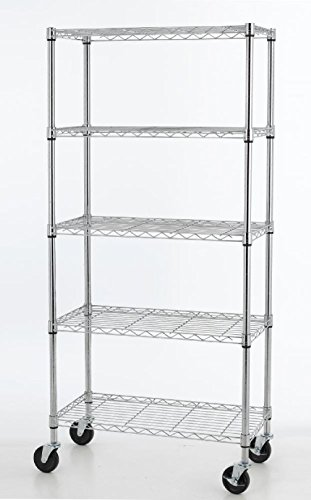 5 Shelf Chrome Steel Wire Shelving 30 By 14 By 60-inch Stora