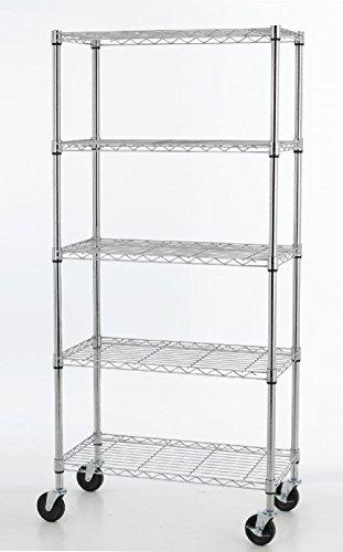 5 Shelf Chrome Steel Wire Shelving 30 By 14 By 60-inch Stora