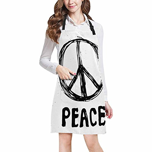 InterestPrint Peace Symbol Grunge Hippie or Pacifist Sign Adjustable Bib Apron with Pockets - Commercial Restaurant and Home Kitchen Adjustable Apron, Plus Size - Grunge Bib