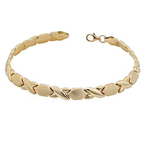 Kooljewelry 14k Yellow Gold Hugs and Kisses XOXO Bracelet (7.5 inch)