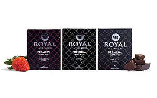 Royal Condoms Variety Pack - Natural, Strawberry, Chocolate, Ultra Thin, Organic, Gluten Free, Vegan, Latex Covered in Odor Free Water Based Lube, 18 Count