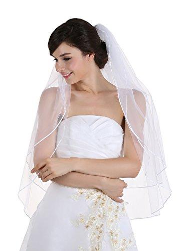 """UPC 608641043983, 2T 2 Tier 1/8"""" Ribbon Edge Bridal Wedding Veil - White Fingertip Length 36"""""""
