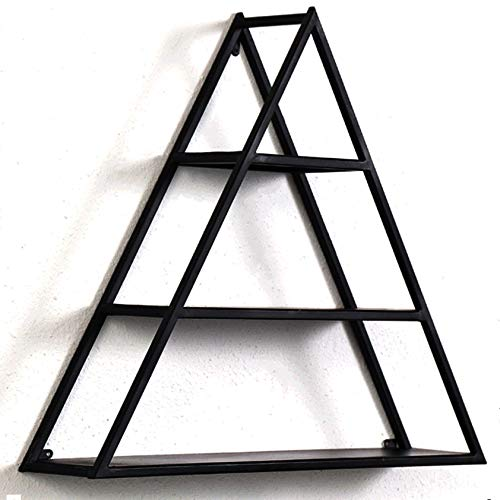 三角浮き棚壁掛け、壁の装飾、居間とベッドルームの収納棚、金属製のディスプレイラック、黒 B07GZ9NFZZ