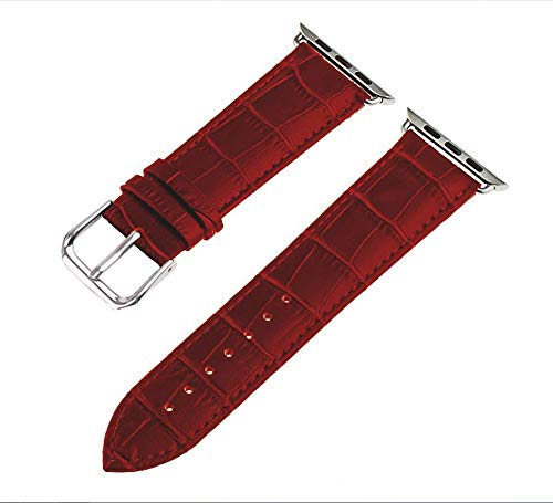 - Compatible Apple Watch Band 38mm/40mm Series 3, VitaVela Classic Style Genuine Leather Bands with Stainless Metal Buckle Replacement Strap Compatible iWatch Series 4 &3&2&1with Adapter, (Red)