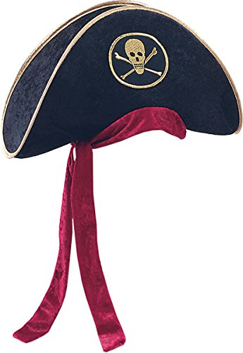 Bristol Novelty Adults Unisex Fancy Party Accessory Buccaneer Pirate Deluxe Velvet Hat Black