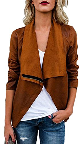 Tomblin Women's Faux Suede Leather Zipper Short Coat Jacket Fashion Lapel Trench Parka Outwear Cardigan (XL, - Trench Short Jacket
