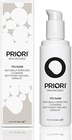 Priori Naturally Enriched Cleanser fx310 Fragrance Free Natural Face Wash for Women and Men | Brightening, Hydrating | Turmeric, Aloe, Green Tea Skin Care | All Skin Types | Clean Beauty 6 oz (180ml)