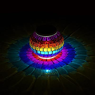 Mosaic Glass Ball Solar Table Night Light, LYCSIX66 Color Changing Waterproof LED Light for Indoor & Outdoor Decoration – Ideal Gifts