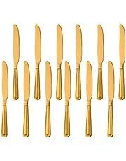 Cuchillos de cena Buyer Star de 12 piezas, juego de cuchillos afilados de acero inoxidable dorado para el hogar, la cocina y el restaurante