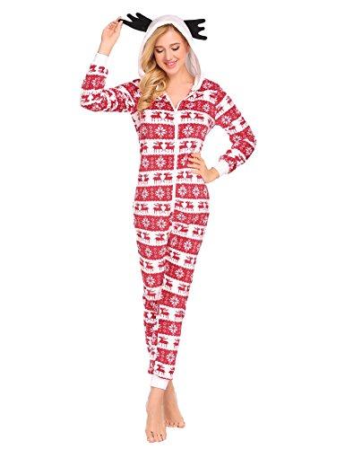 Goldenfox Holiday Reindeer Adult Onesie Pajamas Women's Plush Fleece Non Footed Onesie (Red, XXL)