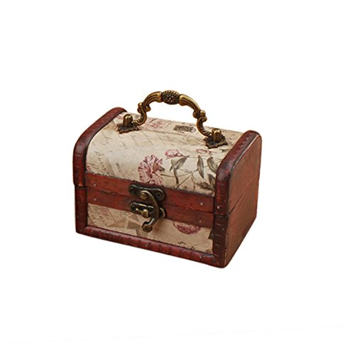 Coolrunner Handmade Retro European wooden box Vintage Wooden Treasure Case Decorative Trinket Jewelry Storage Box Old Memory (1)