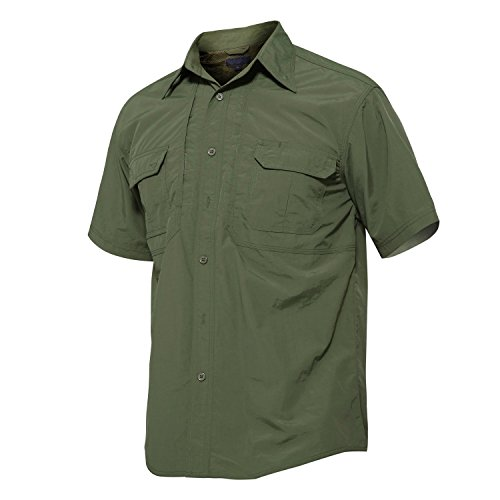 Safari Shirt Dress (TACVASEN Mens Classic Button Down Short Sleeve Dress Shirt Army Green)