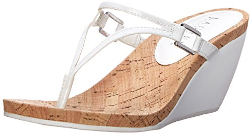 Lauren Ralph Lauren Women's Rula Wedge Sandal, Clear/Real White/Patent, 5 B US