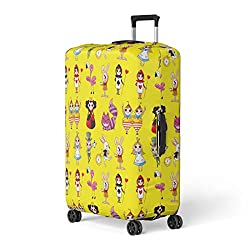 Semtomn Luggage Cover Wonderland Cartoon Alice Rabbit Cute Beautiful Boy Branches Castle Travel Suitcase Cover Protector Baggage Case Fits 22-24 Inch