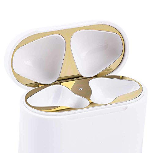 Gold Dust Guard Design for Airpods Protect Against Iron/Metal Shavings[Top+Bottom] [18K Plating][0.04mm] (Gold) ()