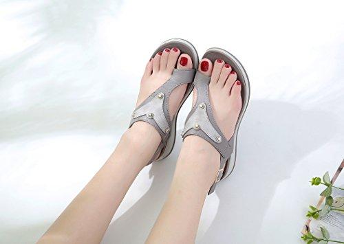 Summer Ruiren Femmes Wedge pour Chaussures Beach Sandals Dames Gris qFgp47S