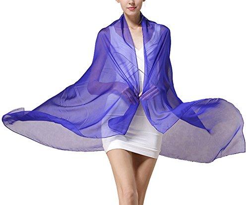 Azul Seda bufanda Invierno Uv Largo Anti colorida Gran Bufanda oscuro Verano 5 Todo Mujer Chale 75BWYBOq