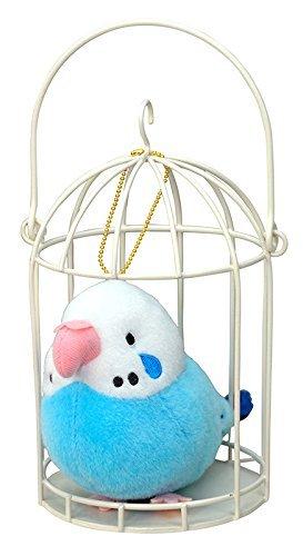 Plush Mascot Doll (Sun Arrow Sweet Bird Collection Budgerigar Blue Plush Doll Mascot w/ Cage 15cm K-6741 Kyomaru)