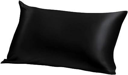 ElleSilk 100% Seda Funda de Almohada, 22 Momme, Seda de Morera de Grado Superior, Tinte Natural, Super Suave y Acogedor, 50 x 75cm, Negro