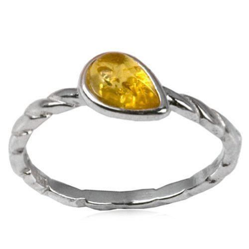 Sterling Silver Light Amber Drop Design Ring