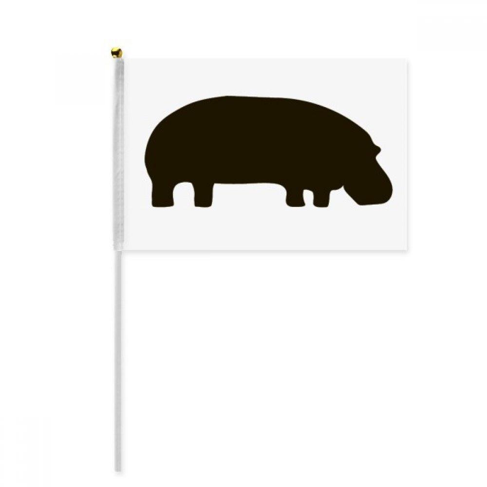 Black Hippopotamus Animal Portrayal Hand Waving Flag 8x5 inch Polyester Sport Event Procession Parade 4pcs