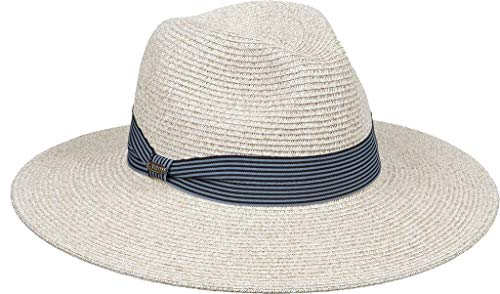 (Kallina Grey Sun Hat for Women- Blue Ribbon Adjustable Band UPF 50 -Naturally Woven Ladies Toyo Straw Hat with Adjustable Inner Band)