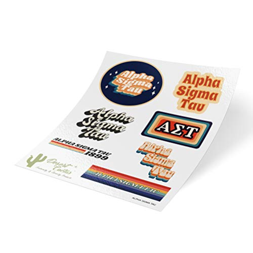 Alpha Sigma Tau 70's Themed Sticker Sheet Decal Laptop Water Bottle Car (Full Sheet - 70's) Alpha Sigma Tau Merchandise