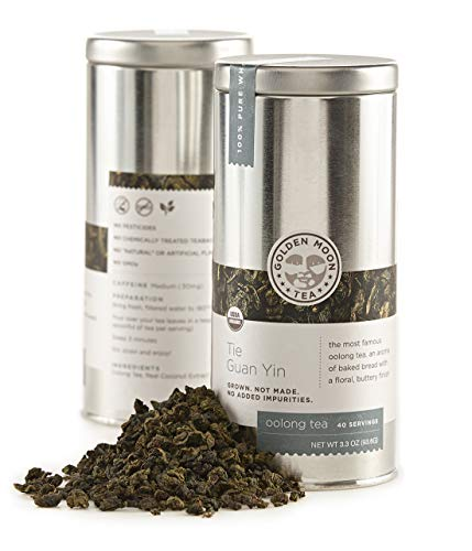 Golden Moon - Organic Oolong Loose Leaf Tea | Naturally Creamy Texture & Deliciously Smooth Taste | Tie Guan Yin Wulong Tea Variety is Good for Weight Loss | 40 Servings in 3.3 Oz Tea Tin